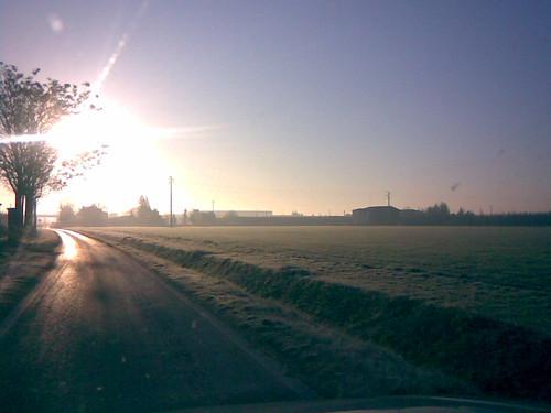 rising sun, frost landscape