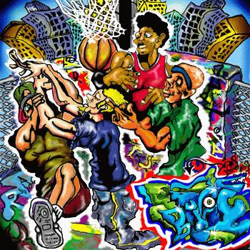 Street basketball graffiti