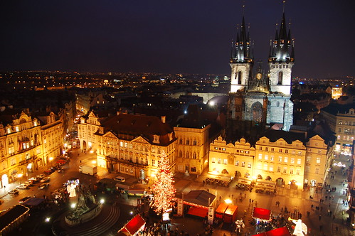 Prague, old square at night