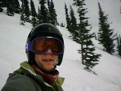 Tim snowboarding