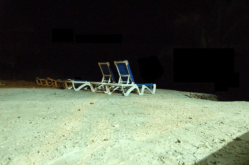 Lonely chair at night