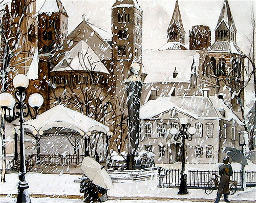 Maastricht holland watercolor particolare