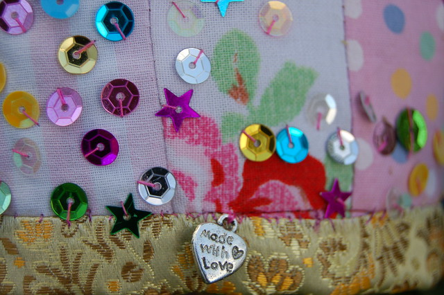 Detail of DIY fabric crown, sewn by iHanna