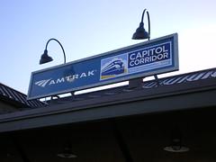 Rocklin station Amtrak sign