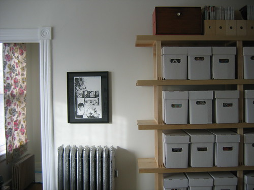 A bit of the new office now at the front of the house for Comic book box shelves