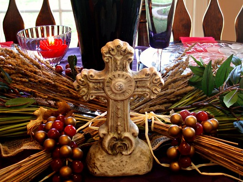 Dining delight a lenten tablescape for Altar decoration for first holy communion