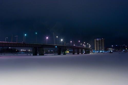 winter snow night suomi finland harbor harbour joensuu