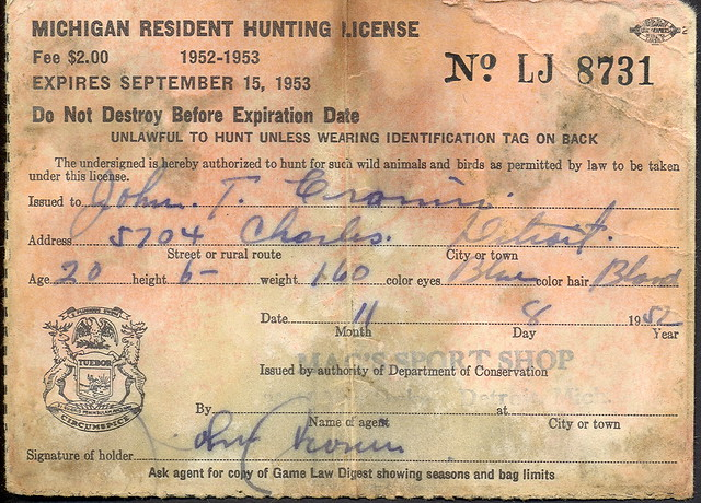 1952 michigan resident hunting license explore upnorth for Michigan non resident fishing license