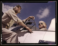 Ens[ign] Noressey and Cadet Thenics at the Naval Air Base, Corpus Christi, Texas (LOC)