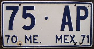 MEXICO, Mexico State, 1970/71 Unknown type 00-AA serial sequence