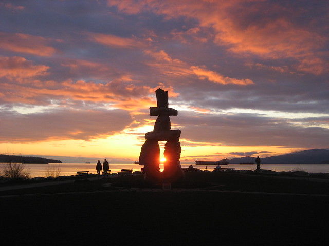 Inukshuk Sunset in English Bay