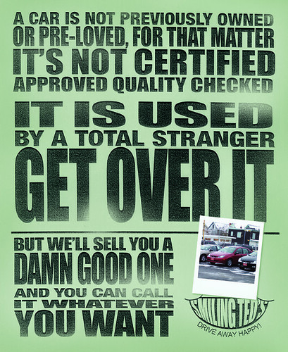 Used car poster.