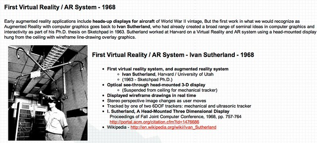 AR History - First Virtual Reality / AR System - Ivan Sutherland - 1968