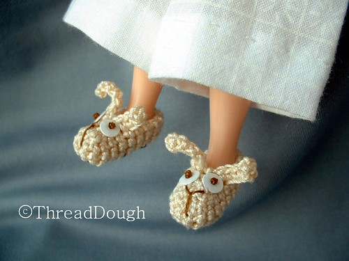 ThreadDough Cream Bunny Slippers
