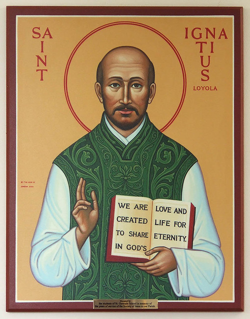 Saint Gertrude Roman Catholic Church, in Krakow, Missouri, USA - icon of Saint Ignatius Loyola.jpg