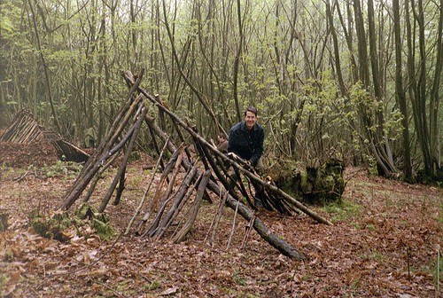 Bushcraft shelter early stages
