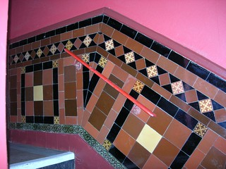 Encaustic tiled staircase at the Grand Theatre Leeds