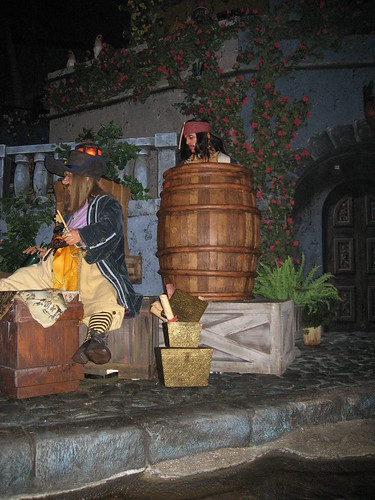 Disney World -- Pirates of the Caribbean ride -- Capt. Jack Sparrow in the barrell