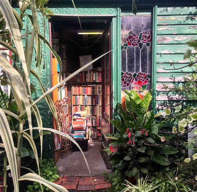 Secondhand bookshop in plant nursery. Huonville.