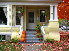 Yellow House Porch in the Fall by jpwbee