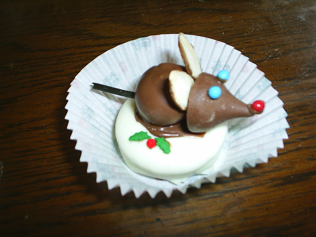 christmas mouse cookie   this is made with a chocolate coate ...