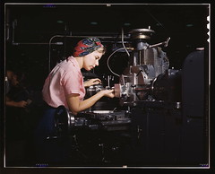 """Women become skilled shop technicians after careful training in the school at the Douglas Aircraft Company plant, Long Beach, Calif. Most important of the many types of aircraft made at this plant are the B-17F (""""Flying Fortress"""") heavy bomber, the A-20 ("""