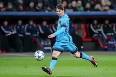 Lionel Messi during the UEFA Champions League game between Bayer 04 Leverkusen vs Barcelona at BayArena stadium