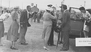 City of Port Adelaide 1856 - 1956 Centenary Celebrations - Official Opening at John Hart Oval, Saturday March 17 1956 - Arrival of His Excellency the Governor Sir Robert and Lady George.