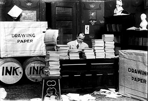 Winsor McCay at work in the live-action prologue of 'Little Nemo', his first animated film (1911).