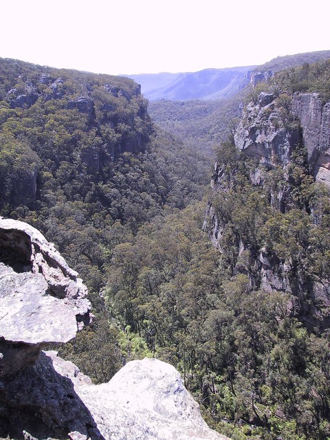 Looking down into one of the canyons