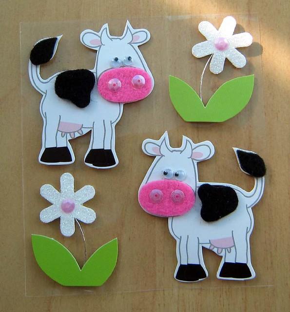 vacas pegatinas de cartulina fieltro y lentejuelas eran un poco caras ...