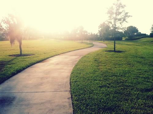 park morning light grass sunrise bench florida path earlymorning run health 365 365project runkeeper