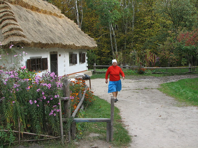 ukrainian cottage and villager