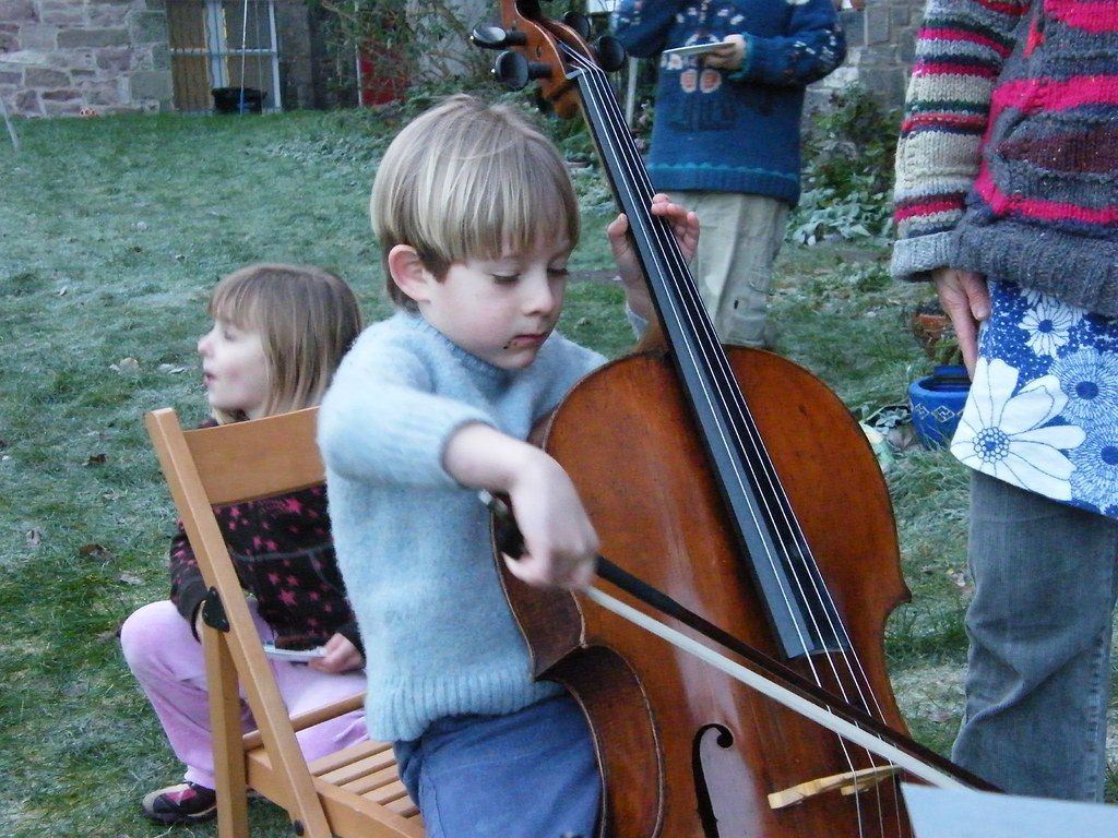 Blue plays the cello