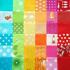 Rainbow scraps pieced by patchwork queen