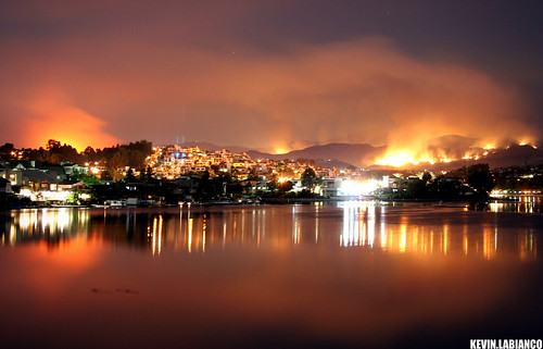 california county blue houses santiago red orange lake black mountains reflection water danger fire october nightshot smoke southern flame socal mission oc viejo saddleback wildfire firsttheearth diamondclassphotographer flickrdiamond