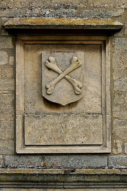 Photo of Isaac Newton stone plaque
