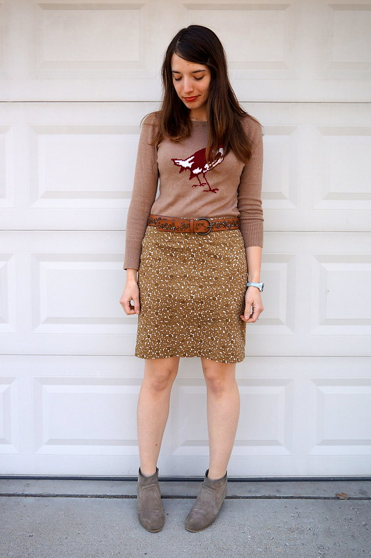 Target Merona bird graphic sweater and green skirt
