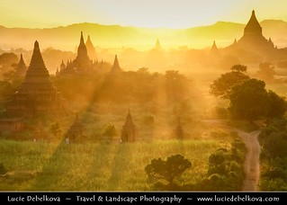 Myanmar - Bagan - Pagan - Ancient city during beautiful sunset