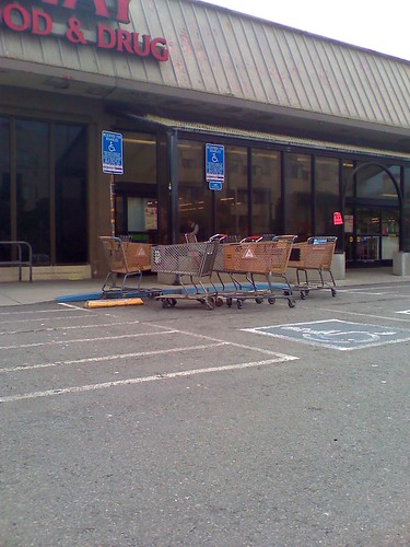 Safeway Parking Lot - Shopping Carts in ADA Space
