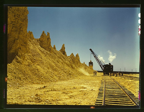 Nearly exhausted sulphur vat from which railroad cars are loaded, Freeport Sulphur Co., Hoskins Mound, Texas  (LOC)