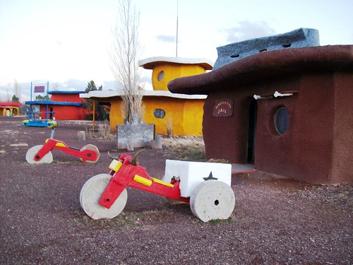 Swanky police trikes outside the City Jail at Bedrock City, Arizona (bedrock41xy)
