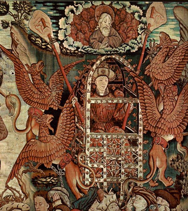 Alexander as Aeronaut, 15th century tapestry