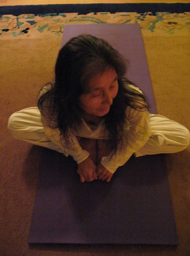 Mayumi doing yoga in early morning
