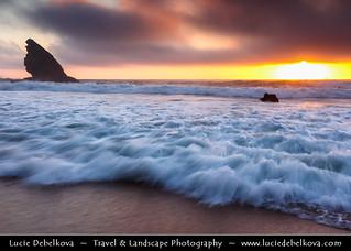 Portugal - Sintra-Cascais Natural Park - Adraga beach near Colares at Sunset