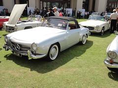 race car(1.0), automobile(1.0), automotive exterior(1.0), vehicle(1.0), performance car(1.0), automotive design(1.0), mercedes-benz(1.0), mercedes-benz 190sl(1.0), antique car(1.0), classic car(1.0), vintage car(1.0), land vehicle(1.0), luxury vehicle(1.0), convertible(1.0), sports car(1.0),