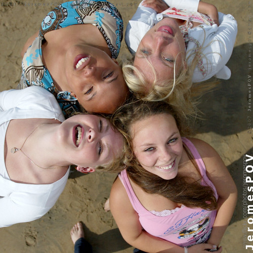 Bloomingdale beach girls put their heads together by JeromesPOV, on Flickr