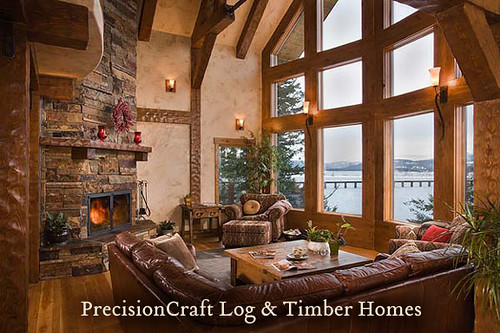 Located in idaho great room in a timber frame home by for Timber frame great rooms
