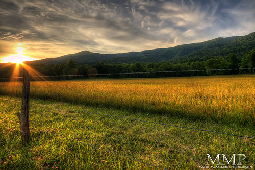 park sunset sun mountains field fence cove tennessee great scenic east national flare smoky cades gsmnp