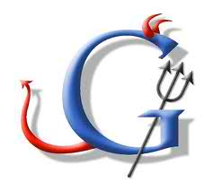 Google Logo with devil's tail